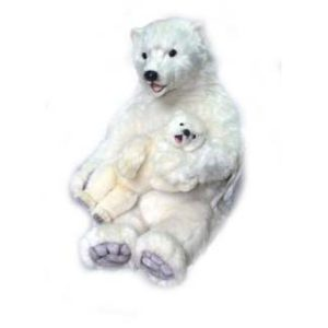 Life-size and realistic plush animals.  0080 - POLAR MAMA with BABY (Static)
