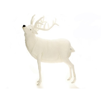 """Life-size and realistic plush animals.  0278 - DEER WHITE MALE 60""""H"""