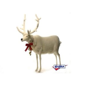 """Life-size and realistic plush animals.  0297 - WHITE MALE DEER 56""""H X 60""""H"""