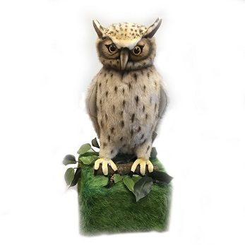 Life-size and realistic plush animals.  0590 - FISH OWL WITH BASE