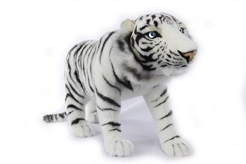 Life-size and realistic plush animals.  0782 - TIGER WHITE STANDING