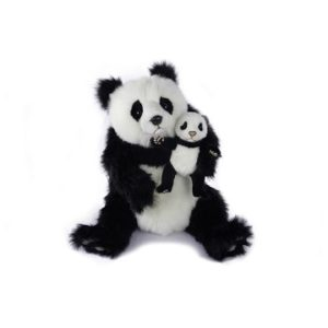 Life-size and realistic plush animals.  0787 - PANDA BEAR WITH BABY