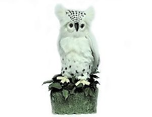 Life-size and realistic plush animals.  0791 - SNOW OWL WITH BASE