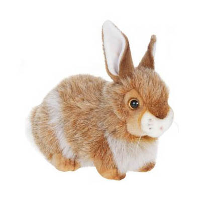 Life-size and realistic plush animals.  2786 - RABBIT BROWN MIX 12''L