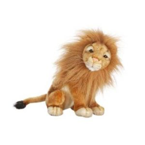 Life-size and realistic plush animals.  3937 - LION MED SEATED 8''