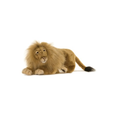Life-size and realistic plush animals.  3965 - LION MALE MED LYG 18''L