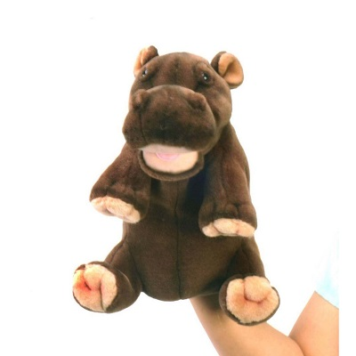 """Life-size and realistic plush animals.  4037 - HIPPO PUPPET 9""""H"""