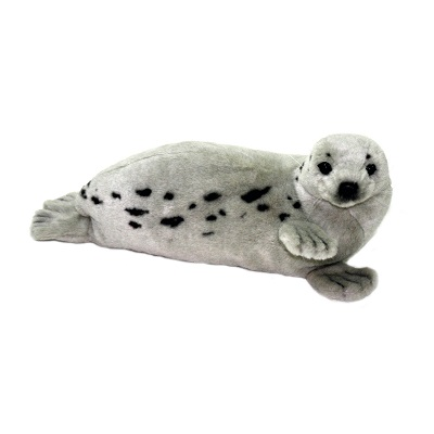Life-size and realistic plush animals.  4054 - SEAL HARP GREY 15''L