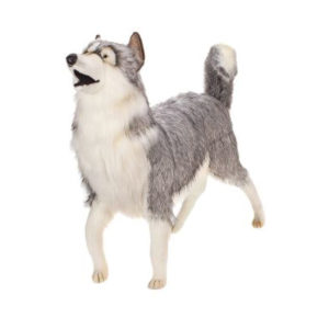 "HUSKY GRAY LIFE SIZE 46""L Plush Toy"