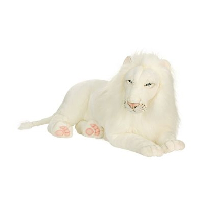 Life-size and realistic plush animals.  5243 - WHITE LION 39''L