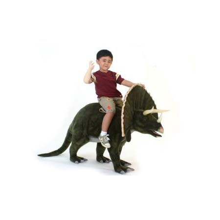 Life-size and realistic plush animals.  5314 - TRICEROTOPS 52''L RIDEON (SP)