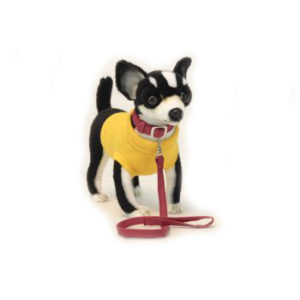 "CHIHUAHUA  BLK (COAT/LEASH) 10.7""L Plush Toy"