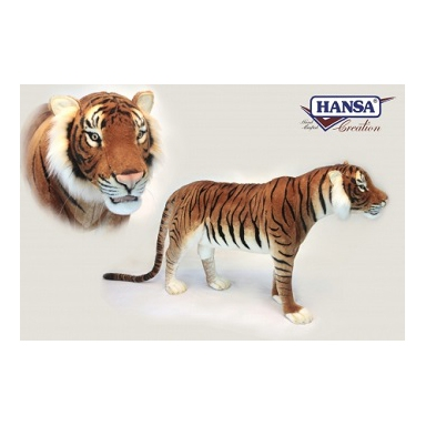 Life-size and realistic plush animals.  6592 - TIGER JACQUARD STANDING