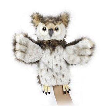 Life-size and realistic plush animals.  7159 - OWL PUPPET
