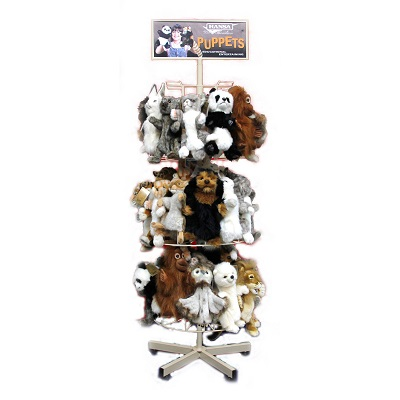 Life-size and realistic plush animals.  7365 - PUPPET STAND WITH 48  PUPPETS