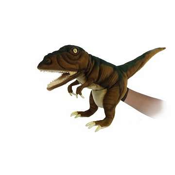 """Life-size and realistic plush animals.  7749 - T-REX PUPPET (BROWN) 19""""L"""