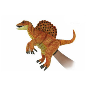 """Life-size and realistic plush animals.  7760 - SPINOSAURUS PUPPET (YLW GLD) 16""""L"""