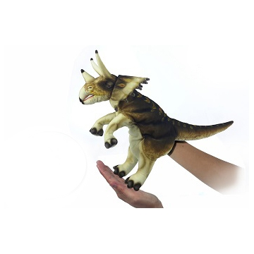 """Life-size and realistic plush animals.  7764 - TRICERATOPS PUPPET (CRM/BRN) 17""""L"""