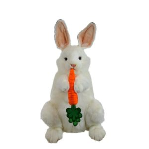 Life-size and realistic plush animals.  0738 - BUNNY WHITE W/ CARROT UP/DOWN