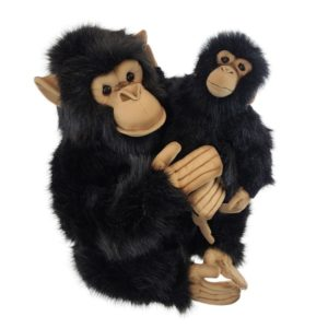 Life-size and realistic plush animals.  0789 - CHIMP W/ BABY