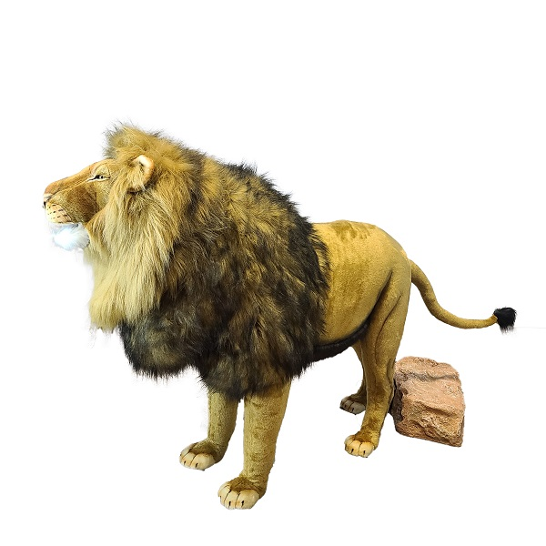"""Life-size and realistic plush animals.  0845 - LION  MALE STANDING 47"""" TALK SING"""