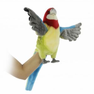 """Life-size and realistic plush animals.  7351 - PARROT GREEN PUPPET 19.6""""L"""