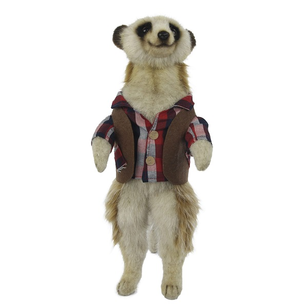 """Life-size and realistic plush animals.  7878 - MEERKAT MALE 13""""H (BROWN / CHECKERED SHIRT)"""