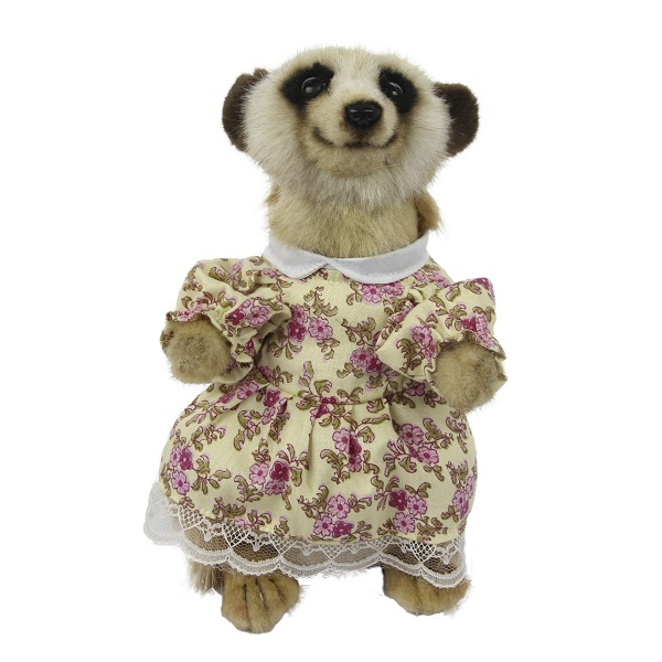"""Life-size and realistic plush animals.  7882 - MEERKAT GIRL 8.5""""H (CREAM PINK FLORAL DRESS)"""