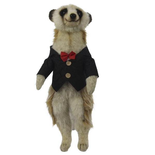 """Life-size and realistic plush animals.  7885 - MEERKAT MALE 13""""H (BLACK SHIRT)"""