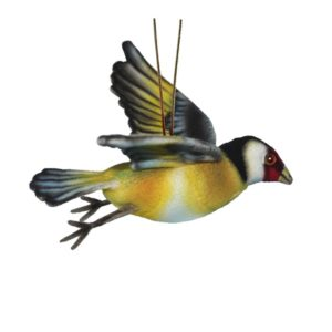 Life-size and realistic plush animals.  8114 - GOLD FINCH FLYING